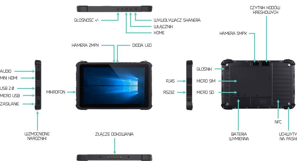 10 cali tablet wzmocniony LAN RS232 NFC 1D - EM-I16K