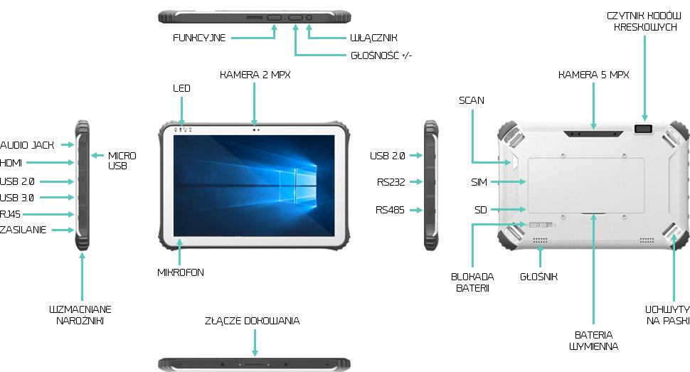 Wzmocniony tablet z czytnikiem kodów kreskowych NFC - Emdoor EM-I22H