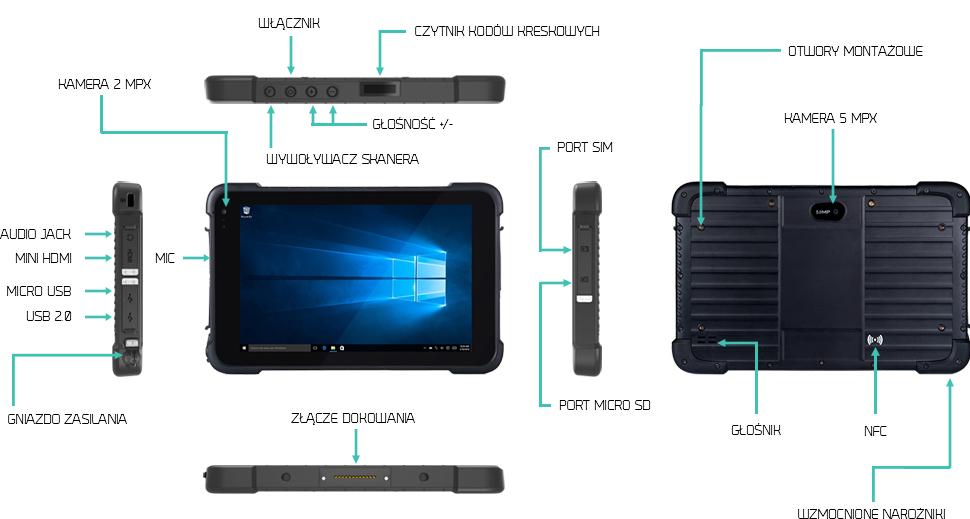Tablet przemysłowy z usb i hdmi - Emdoor EM-I86