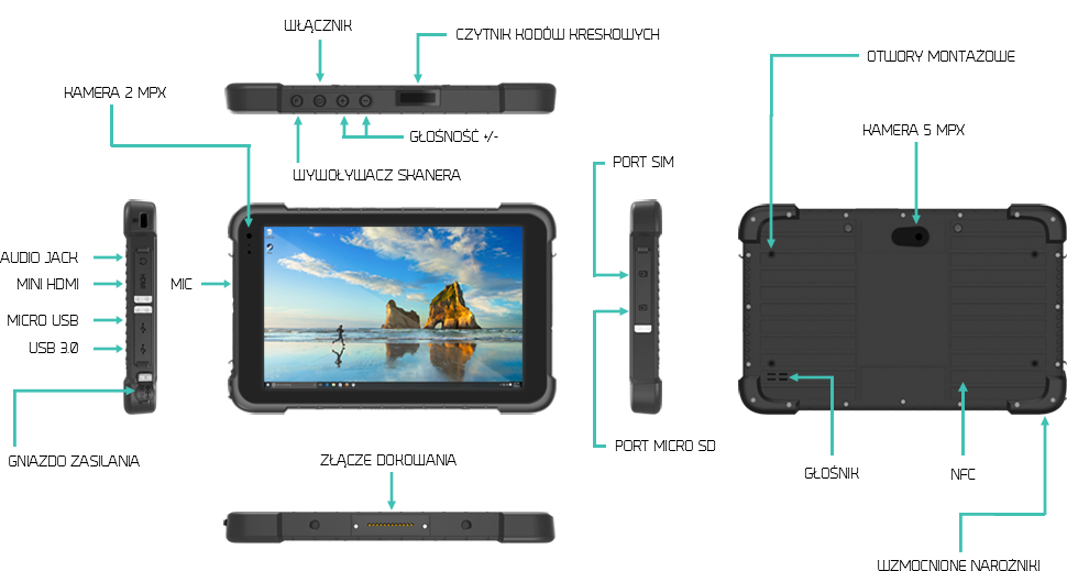 Odporny tablet na upadki i wodę z IP67 - EMDOOR EM-I86H