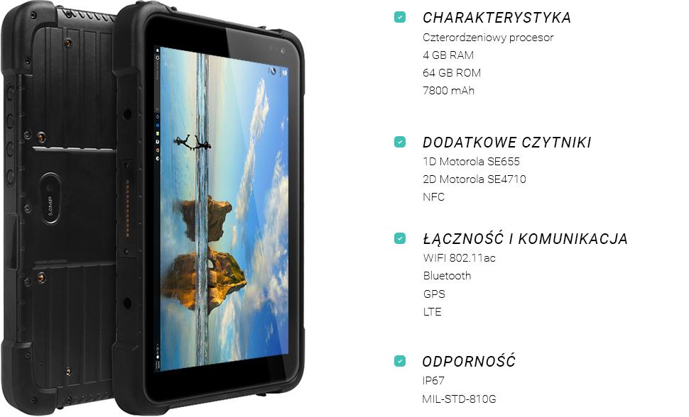 Wodoodporny tablet z 3G i czytnikiem kodów QR - EMDOOR EM-I86H