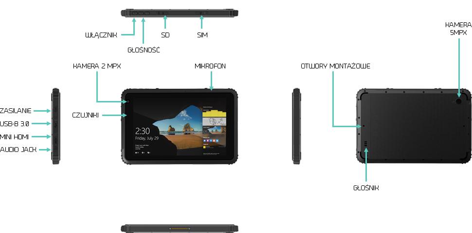 Odporny tablet wytrzymały IP67 LTE - Emdoor EM-I88H