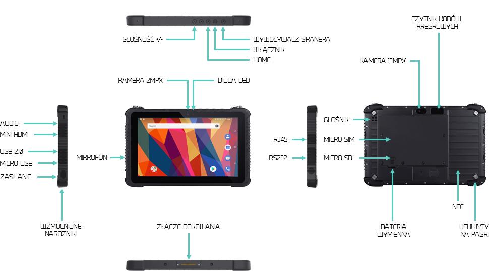 10 calowy tablet przemysłowy z androidem i wymienną baterią do skanowania kodów - Emdoor EM-T16