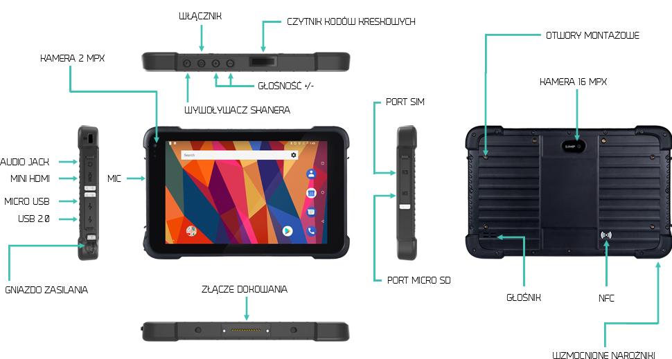 Tablet odporny na zachlapania z USB IPS IP67- Emdoor EM-T86