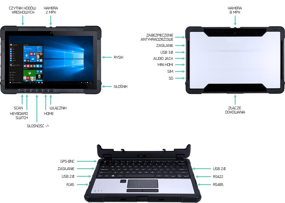 Tablet na produkcję wysokie temperatury i pył - Emdoor EM-X11G