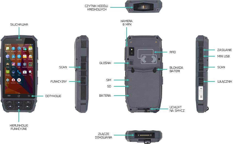 komputer mobilny 5 cali android czytnik kodów - Handheld VITAL