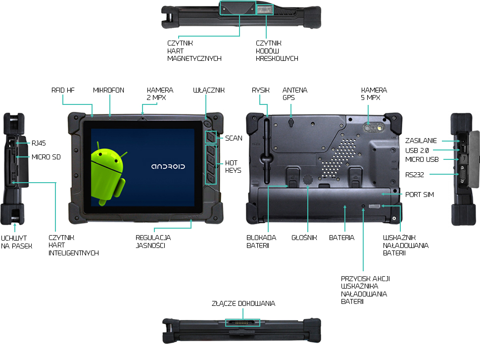 Tablet z Androidem przemysłowy 8 cali RS232 - i-Mobile IMT-8 Plus