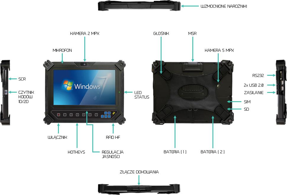 Wojskowy tablet IP65 przemysłowy - i-Mobile IO-10B2