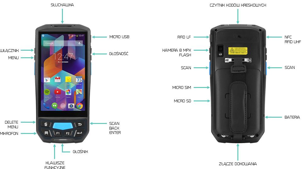 Android RFID UHF kolektor danych - Lecom U9000