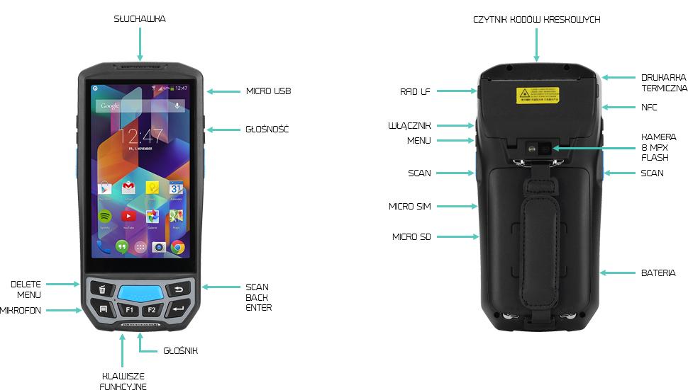 drukarka android kolektor danych skaner kodów 2D - Lecom U9300