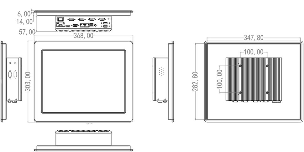 """Komputer przemysłowy do zabudowy 15"""" - SilverTouch P150T"""