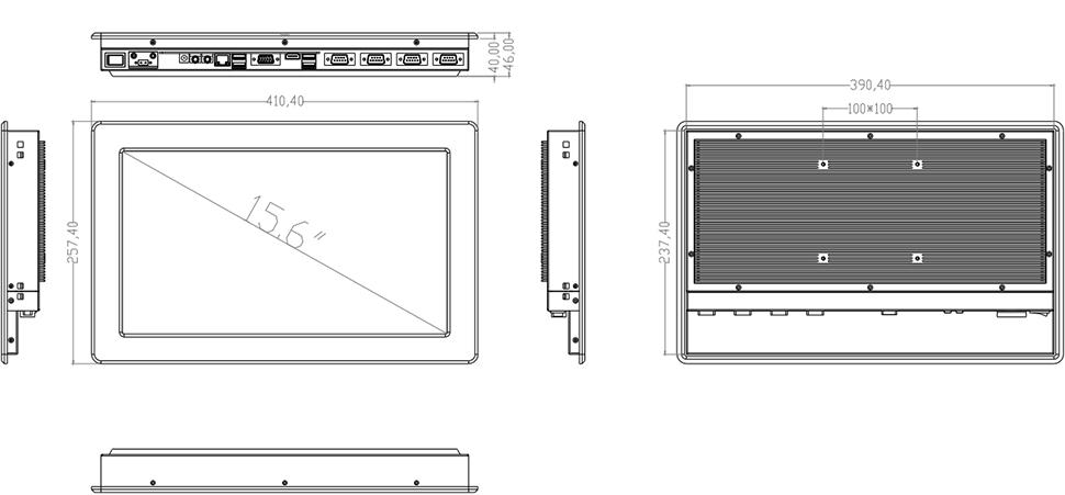 Przemysłowy panel operatorski FULL HD VESA 100 - SilverTouch U156T