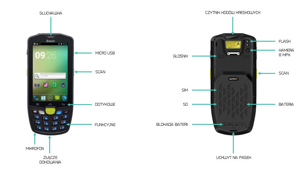 terminal kodów kreskowych android 2GB RAM - Seuic AUTOID9