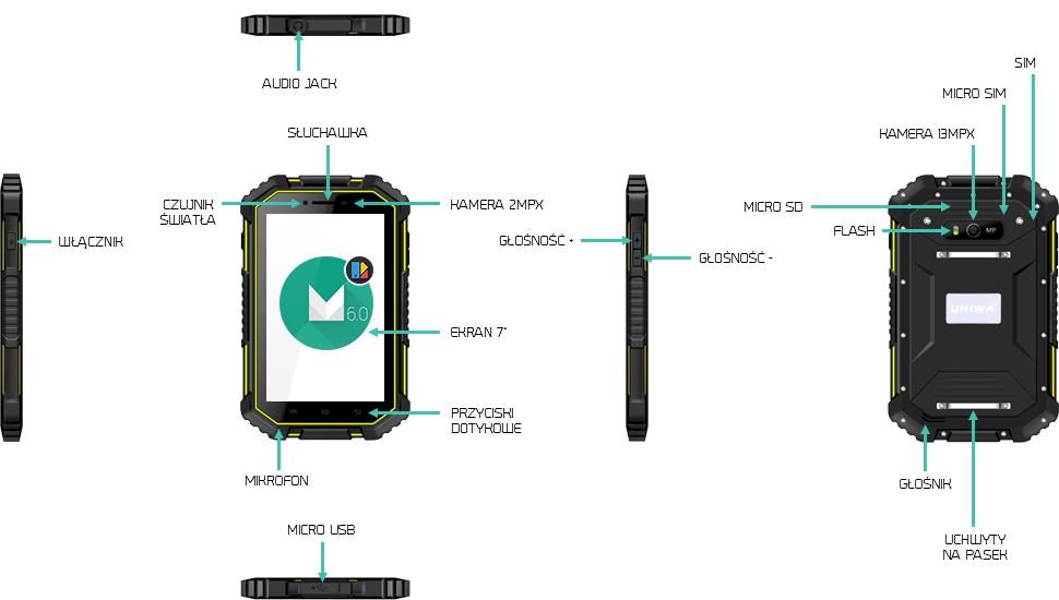 Tablet do pracy przemysłowy odporny na wodę UNIWA HV2