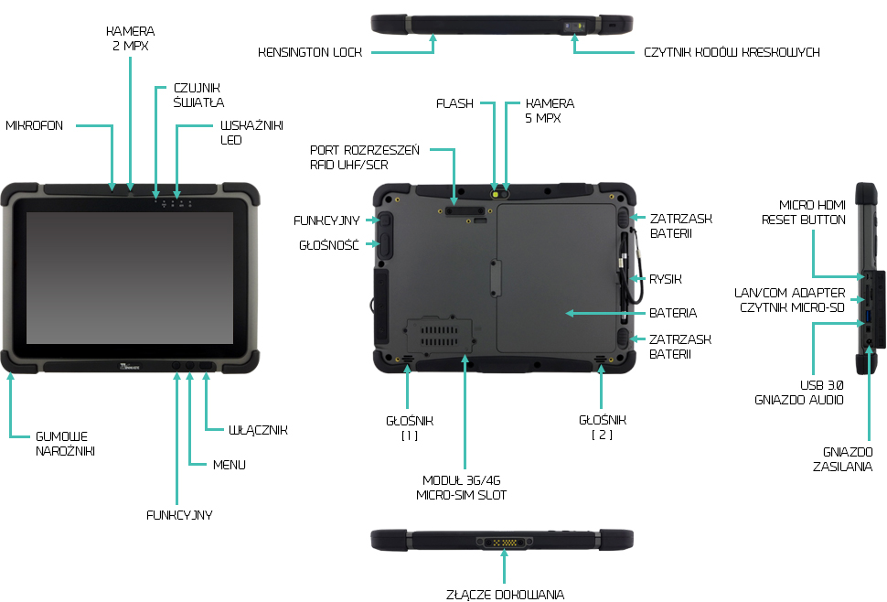 tablet rs232 com lan ip65 winmate m101b