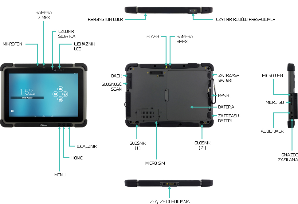 Tablet przemysłowy 10 cali android czytnik kodów kreskowych - Winmate M101M8